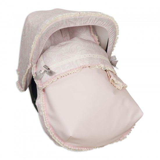 Sack Grupo 0 with hood and covers Harness Sweetly Rosa