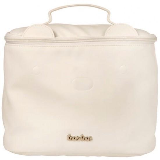 Round Beige Brioche toiletry bag