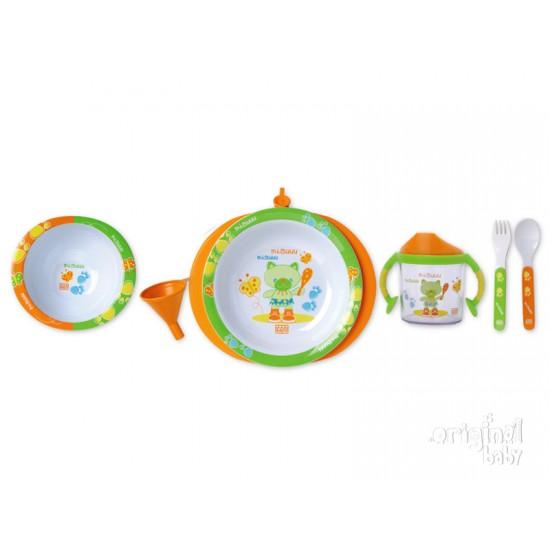 Nueva Vajilla 5 piezas con plato termo, modelo naranja