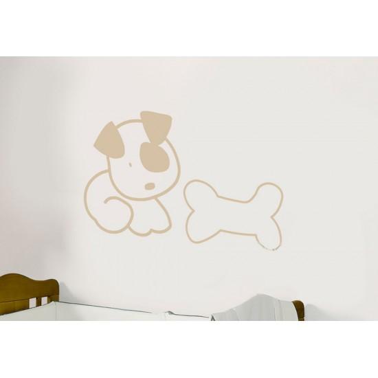 Vinilo decorativo modelo perro y hueso. Serie 24