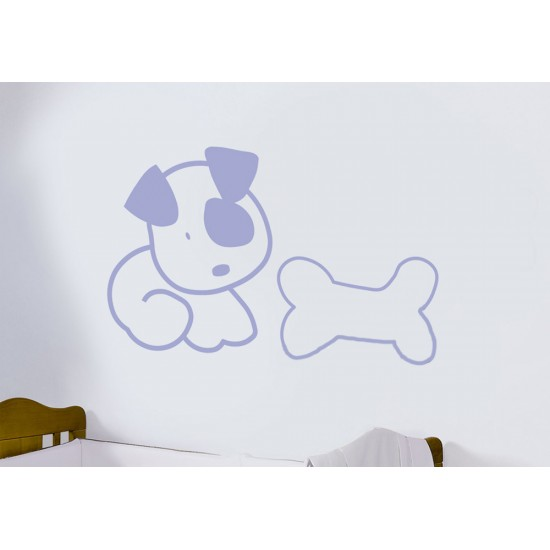 Vinilo decorativo  perro con huesito