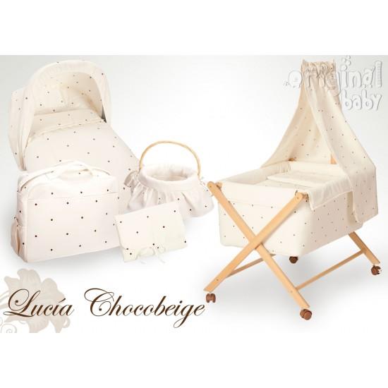 Minicuna de madera tijera Lucía Chocobeige (NO INCLUYE DOSEL)