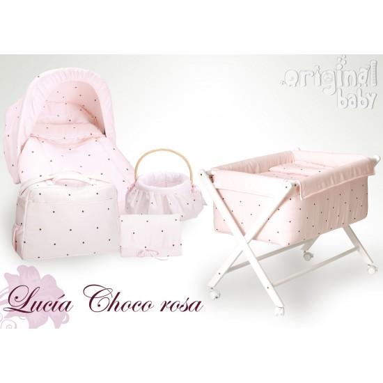 Minicuna de madera tijera Lucía Choco rosa