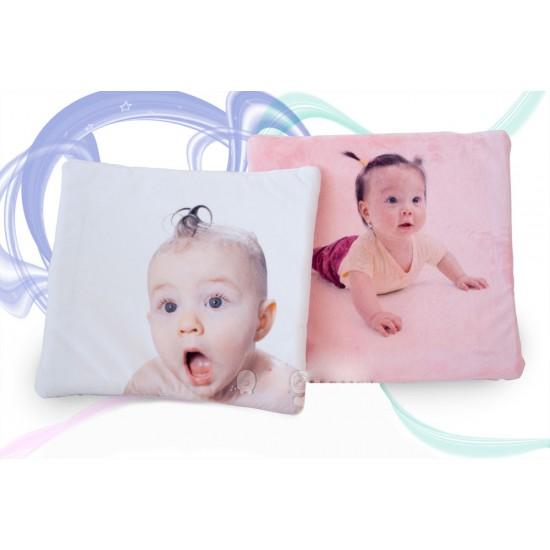 Cojin bebe con foto tejido suave