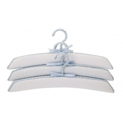 Set of 3 hangers lined Fabric White Point Celestial