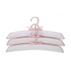 Set of 3 hangers lined Fabric White Point Rosa