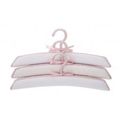 Juego de 3 perchas forradas de tela Blanco Punto Rosa