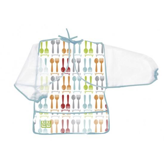 Babero plástico con mangas azul