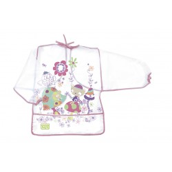 Plastic bib with pink sleeves
