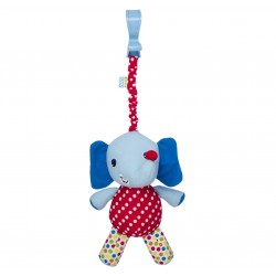 Rattle elephant ride with clip blue