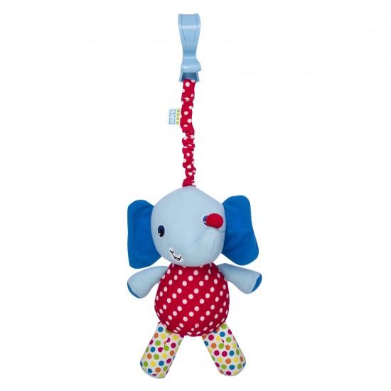 Sonajero de paseo con pinza elefante azul