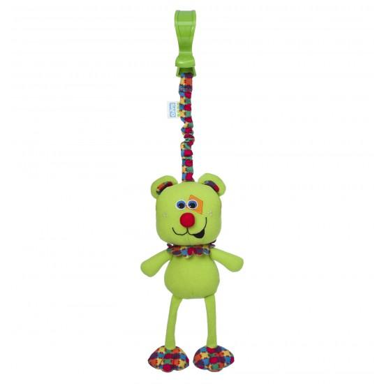 Sonajero de paseo con pinza oso verde
