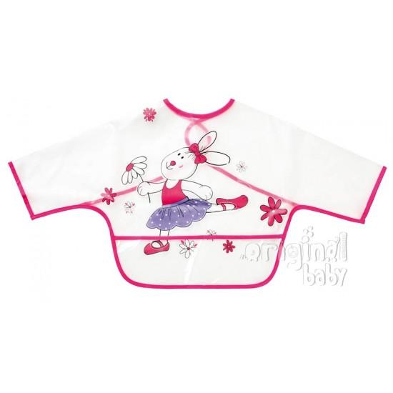 Babero con mangas y bolsa rosa