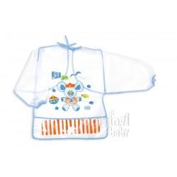 Babero de plástico con mangas Azul