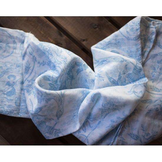 Muselina para bebé Toile de Jouy color Celeste