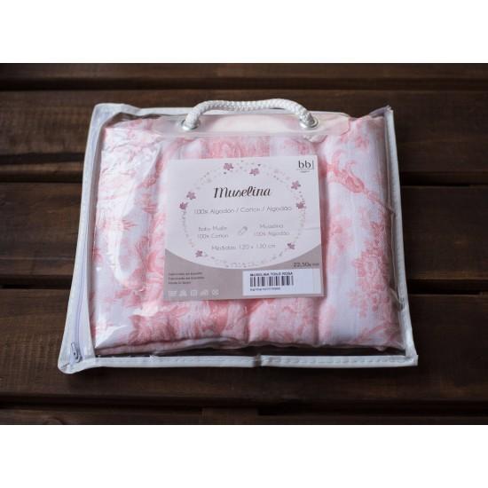 Muselina para bebé Toile de Jouy color Rosa