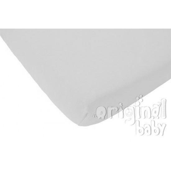 Sábana bajera de mini cuna color blanco
