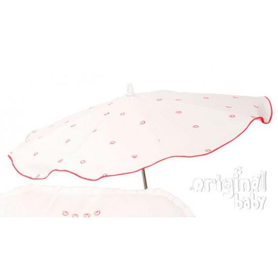 Sombrilla Silla piqué blanco rojo
