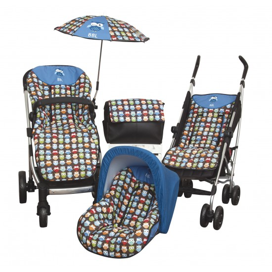 Colchoneta silla ligera  Estampado Búhos Azul