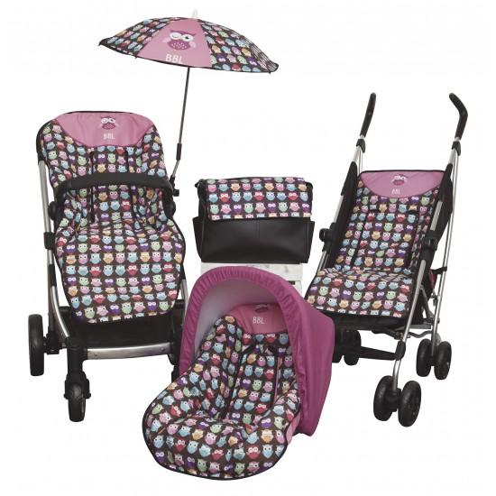 Colchoneta silla paseo Estampado Búhos Rosa