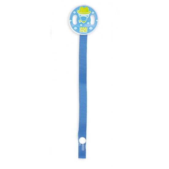 Cadena con cinta para chupete azul