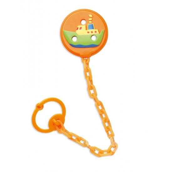 Cadena porta-chupetes 3D Naranja