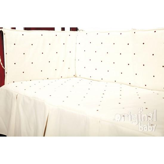 Edredón y protector de cuna 60 x 120, modelo Lucía ChocoBeige