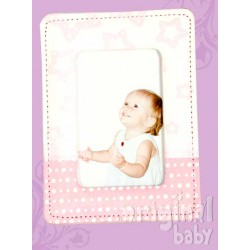 Photo frame pink suede simile