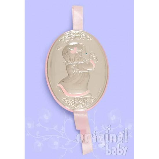 Medallón Angelito rosa de plata