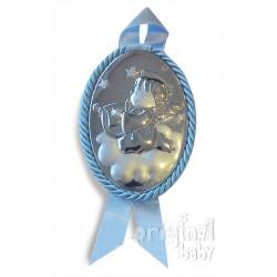 Medallón angelito con arpa celeste de plata musical
