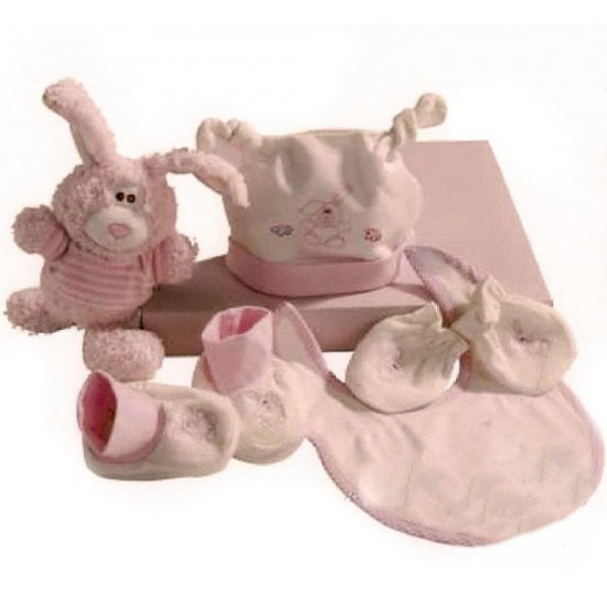 Set de regalo de 5 piezas recién nacido rosa