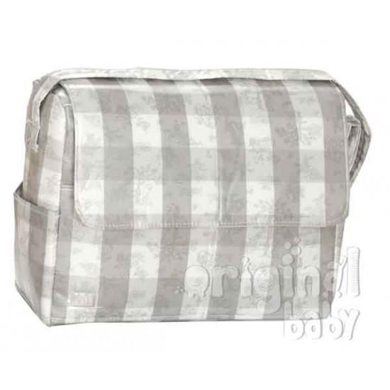 Bolso plastificado Toile de jouy gris