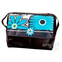 Bolso de paseo de piel Flores Turquesa
