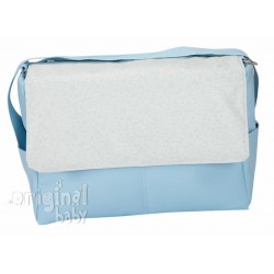 Jacquard leather bag baby blue