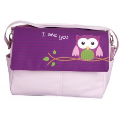 Leather bag Purple Owl